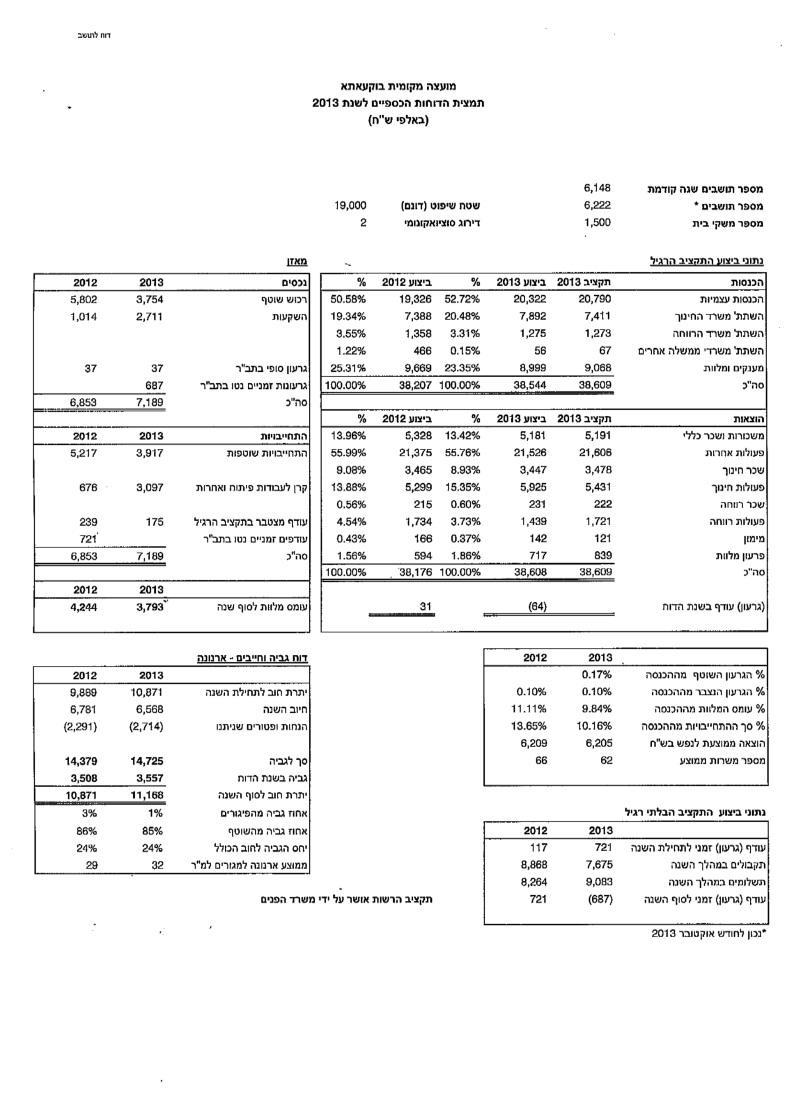 تقرير مالي لسنة 2013